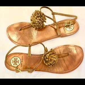 Tory Burch leather Pom Pom Cherylin  flat sandals